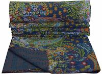 Indian Blue Paisley Reversible Kantha Quilt Handmade Bedspread Twin size Throw