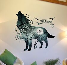 Wolf Moon Forest Wall Stickers DIY Room Decoration Mural Art Sticker Home Decor
