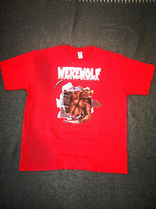 SALE: WEREWOLF DTG PRINT MEN T SHIRT RED 2XL