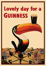 Vintage Advertising Poster GUINNESS Toucan Old Beer Ad ART PRINT Bar Pub A3 A4