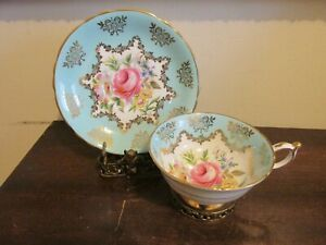 Vintage Paragon England Hand Painted Tea Cup And Saucer Roses Flowers Gold Blue