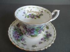 ROYAL ALBERT FLOWER OF THE MONTH FEBRUARY VIOLETS  CUP & SAUCER 1ST LOOKS UNUSED