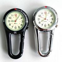 Outdoor Travel Arabic Numbers Quartz Analog Clip Carabiner Hook Watch Charm