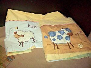 Li'l Kids Set of 2 Window Valances Farm Animals Sheep Cow Yellow Blue Green