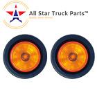 2 Round Amber 9 Led Light Trailer Side Marker Clearance Grommet Plug - Qty 2