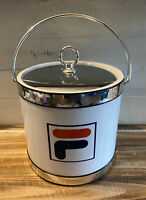 "Vintage 1990's New Unused Fila Ice Bucket Barware 7.75"" Tall"