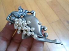 """""""JJ"""" Jonette Jewelry Silver Pewter 'LADY IN BUBBLEBATH"""" Pearl Pin Brooch pendant"""
