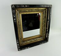 Antique Victorian Wall Mirror Eastlake Ebonized Gold Gilt Deep Set 1880s