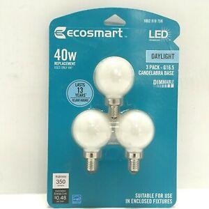EcoSmart 40W Dimmable LED Globe Bulbs, Indoor Candelabra Base, Daylight, 3 pack