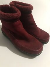 Lands End Womens Boots Suede Leather Side Zip Ankle Apres Ski Winter Red Size 8B