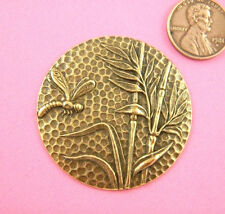 VINTAGE DESIGN ANTIQUE BRASS DRAGONFLY AND BAMBOO - 1 PC