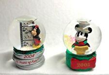 Set of 2 Disney Santa Mickey Mouse Anniversary Mini Snowglobes 2004 & 2005