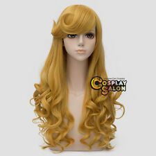 65CM Golden Curly Anime Aurora Women Halloween Cosplay Wig Heat Resistant+Cap