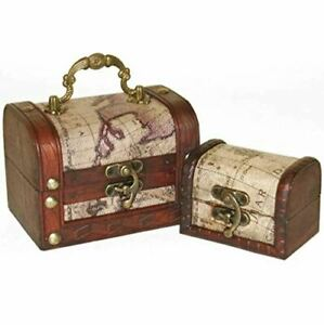 Set of 2 Map Patterned Mini Wooden Chests with Metal Detailing Ornaments