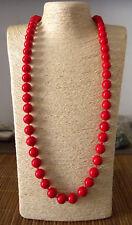 Collana Lunga di Perle da Donna Resina Color Rosso Perla Elegante Mare Sexy