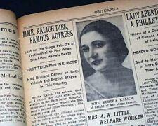 Bertha Kalich Jews Jewish Yiddish Theatre Stage Actress Death 1939 Nyc Newspaper
