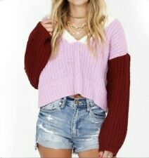 Wildfox Color Me Beverly Sweater Size M Women's Wildberry Wine Colorblock NEW