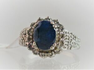 VINTAGE STYLE OVAL CUT GENUINE 1.88CT SAPPHIRE & DIAMOND 14kt SOLID WG RING SZ 7