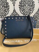 Michael Kors Navy Leather Selma Stud crossbody Shoulder Bag RRP £275.00