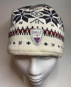 DALE OF NORWAY Garmisch unisex 100% WOOL WHITE & NAVY BLUE HAT CAP