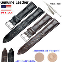 New Genuine Leather Watch Band Strap Belt Stainless Steel Pin Clasp 16 - 24mm US