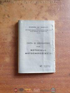 LIBRETTO di circolazione + Certificato d'origine MOTO ISO 150 SCOOTER del 1959