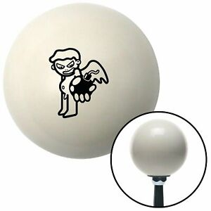 Black Kid Holding Bomb Ivory Shift Knob with 16mm x 1.5 Insert 18 degree 428