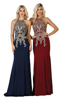 NEW SPECIAL OCCASION HALTER EVENING GOWN FORMAL RED CARPET SLEEVELESS PROM DRESS