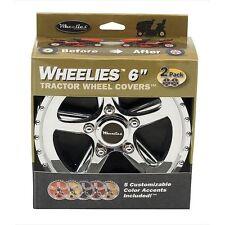 "2 New Wheelies Lawn Garden Tractor Wheel Covers Hub Caps for 6"" Tires GV186"