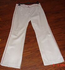 ESCADA WHITE PEARL NAPPA LEATHER PANTS 42 WOW!