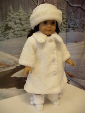 "White Fur Coat Hat Doll Clothes for 18"" American Girl Doll & 15"" Bitty Baby Too!"