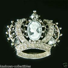 Con Cristal Swarovski Negro Gótico Corona ~ Camafeo Princesa Gorro Tiara Broche
