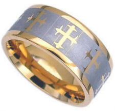 Plain TITANIUM Gold Plated 8mm wide ~CROSS~ Ring Band, size 13 - in Gift Box