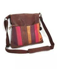 The SaK Leather Brown-Multi Color Crossbody Adjustable Shoulder Bag Satchel Tote