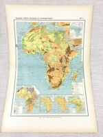 1888 Antique Map of Africa African Physical Hypsometric FRENCH 19th Century