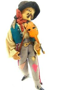"""DOLL FRENCH 10"""" MAN STREET VIOLIN PLAYER CLOTH MOLDED FACE ALBERT MARQUE MUSIC"""