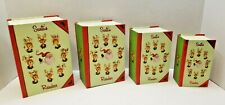 Set of 4 New Vintage Santa and Reindeer Christmas Stacking Nesting Gift Boxes
