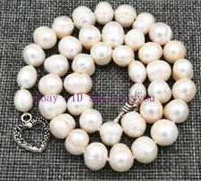 "Beautiful 11-12mm Natural akoya pearL Necklace 18 "" Tibetan silver love clasps"