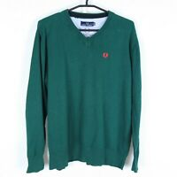 FRED PERRY Mens Green V Neck Long Sleeve Jumper Pullover Sweater SIZE Large