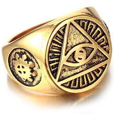 MENDINO Men's Stainless Steel Ring Illuminati The All-seeing-eye Pyramid Symbol