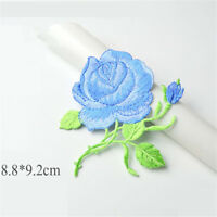 1/2/5X Rose Bud Branch Flower Embroidery Applique Iron On Patch DIY Sewing Craft