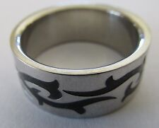 Men's Wide Band Sterling 925 Seagulls Porpoise ? Matte Design Ring Size 11.5