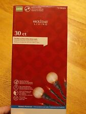 Christmas/Party lights-30ct-white & red-battery pwrd-globe & reg LED 7 functions