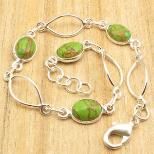 """GREEN COPPER TURQUOISE Art Bracelet 7.9"""" ! 925 Silver Plated Over Solid Copper"""