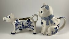 Vintage Antique Lot Of Two Delta Blue Creamers Cat And Cow