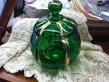 "EAPG ANTIQUE  GREEN GLASS SUGAR BOWL, RIVERSIDE GLASSWORKS, ""X-RAY"", CA 1896"