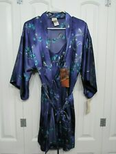 NWT SOPHIA by DELICATES PURPLE FLORAL SATIN ROBE & MATCHING CHEMISE SET SZ S
