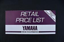 YAMAHA MOTORCYCLE PRICE LIST - 1990 - FS1+RD350+FZR600+FJ1200 ETC