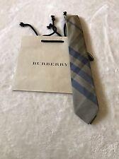 New Authentic Burberry Nova Check Plaid Logo Men Tie Haymarket Blue Slim $165