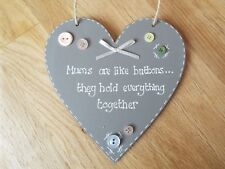 Mums are like buttons grey heart sign plaque Mum, Nan gift shabby chic sign
